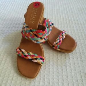 Italian Shoemakers Multi Color Strap Wedges
